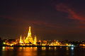 Wat arun in the sunset ratchawararam ratchawaramahawihan or with sky bangkok of thailand Stock Image
