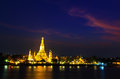 Wat arun in the sunset ratchawararam ratchawaramahawihan or with sky bangkok of thailand Royalty Free Stock Image