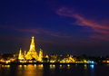 Wat arun in the sunset ratchawararam ratchawaramahawihan or with sky bangkok of thailand Royalty Free Stock Photo