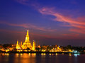 Wat arun in the sunset ratchawararam ratchawaramahawihan or with sky bangkok of thailand Stock Images