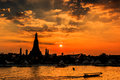 Wat arun in the sunset ratchawararam ratchawaramahawihan or with sky bangkok of thailand Royalty Free Stock Images