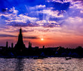 Wat arun in the sunset ratchawararam ratchawaramahawihan or with sky bangkok of thailand Royalty Free Stock Photos