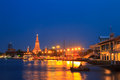 Wat arun temple in bangkok is property of thailand anyone can take photos and use Royalty Free Stock Image
