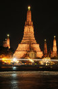 Wat arun temple in bangkok thailand the after sunset Royalty Free Stock Photo