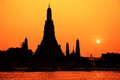 Wat arun temple in bangkok thailand the sunset Royalty Free Stock Image