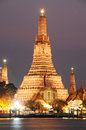 Wat arun temple in bangkok thailand the after sunset Stock Images