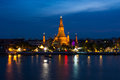 Wat Arun or Temple of Dawn with blue sky. Royalty Free Stock Photo