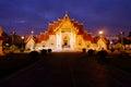 Wat Benchamabophit Dusitvanaram in twilight time, Bangkok, Thailand