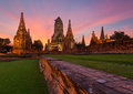 Wat chai watthanaram in ayutthaya thailand at sunset Stock Photos