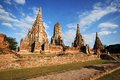 Wat chaiwatthanaram ayutthaya thailand beautiful in Royalty Free Stock Photography