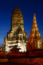 Wat chaiwatthanaram at twilight time thailand old temple Stock Photo