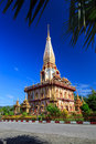 Wat chalong temple at sunny day phuket thailand is the most important of Stock Photography