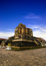 Wat chedi luang with blue sky Royalty Free Stock Images
