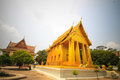 Wat lai church golden lop buri Stock Photo