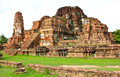Wat mahathat ancient ayutthaya period thailand Royalty Free Stock Photography