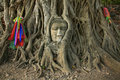 Wat Mahathat Buddha head in tree, Ayutthaya Stock Photo
