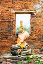 Wat Mahathat in Buddhist temple complex in Ayutthaya near Bangkok. Thailand Royalty Free Stock Photo