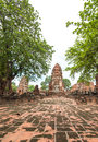Wat mahathat the ruin of buddha status and temple of in ayutthaya historical park thailand Stock Photos