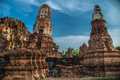 Wat mahathat temple of the great relics is located almost right in center ayutthaya apart from being symbolic center Stock Images