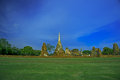 Wat mahathat temple of the great relics is located almost right in center ayutthaya apart from being symbolic center Royalty Free Stock Photos