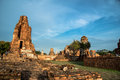 Wat mahathat temple of the great relics is located almost right in center ayutthaya apart from being symbolic center Royalty Free Stock Photo