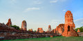 Wat mahathat temple of the great relics is located almost right in center ayutthaya apart from being symbolic center Royalty Free Stock Images