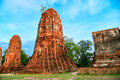 Wat mahathat temple of the great relics is located almost right in center ayutthaya apart from being symbolic center Stock Photos