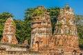 Wat Mahathat temple ruins Ayutthaya bangkok Thailand Royalty Free Stock Photo