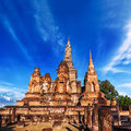 Wat mahathat temple sukhothai thailand ancient architecture of buddhist temples in historical park under blue sky Royalty Free Stock Photo