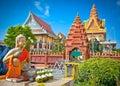 Wat Ounalom Pagoda, Phnom Penh, Cambodia. Royalty Free Stock Photo