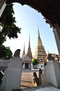 Wat pho bangkok authentic thai architecture in at thailand Royalty Free Stock Image