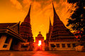 Wat Pho in the sunset Royalty Free Stock Photo
