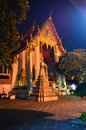 Wat pho twilight in the evening light in bangkok thailand temple Stock Images