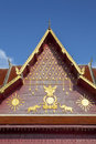Wat phra that chae haeng nan province thailand golden garuda and elephant images on gable of Royalty Free Stock Photography