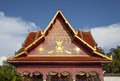 Wat phra that chae haeng nan province thailand golden garuda and elephant images on gable of Royalty Free Stock Image
