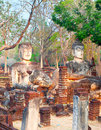 Wat phra kaeo ancient architectura of in kamphaeng phet thailand Stock Photos