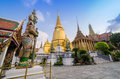 Wat phra kaeo temple of the emerald buddha and the home of the thai king is one bangkok s most famous tourist Royalty Free Stock Images