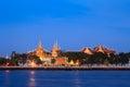 Wat Phra Kaew and Grand Palace alongside Chao Phraya river in Bangkok, Thailand