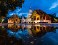 Wat phra sing chiang mai thailand at twilight time Royalty Free Stock Photo