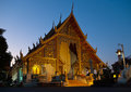 Wat phra singh in chiang mai on sunset thailand Royalty Free Stock Photo