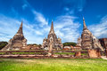 Wat phra sri sanphet temple ayutthaya thailand asian religious architecture ancient pagoda at under blue sky Royalty Free Stock Photo