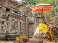Wat phu temple with stone buddha at near champasak southern laos a famous unesco world heritage site is a ruined khmer Stock Images