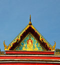 Wat roof the of the church is adorned thailand patterns of religious belief Royalty Free Stock Photo