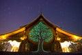 Wat Sirindhorn Phu Praw and night sky, temple in Thailand
