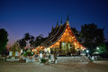 Wat xieng thong temple in twilight luang pra bang laos is the most popular Royalty Free Stock Image