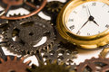 Watch clock surrounded gears Royalty Free Stock Image