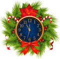 Watch decorated Christmas wreath (New Year's Eve) Royalty Free Stock Photo