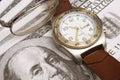 Watch glasses & money Royalty Free Stock Photo