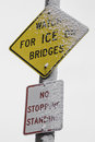 Watch for ice sign the on bridges in the snow Stock Photos