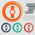 Watch icon on the red, blue, green, orange buttons for your website and design with space text. Royalty Free Stock Photo